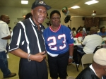 Chuck and Hattie in her jersey that actually went to a Super Bowl!!! 2014 'Varsity Night'